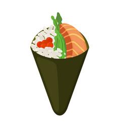 temaki food raw fish caviar rice nori in sushi vector image
