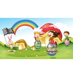 A bunny and kids with easter eggs vector image