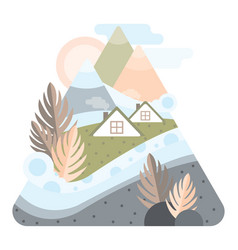 abstract high mountains with houses of iceland vector image
