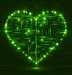eletronic circut board in shape of heart vector image