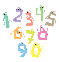 funny numbers cartoon cute characters vector image vector image