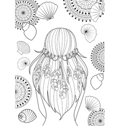Girl with feathers on her heads and shells vector image vector image