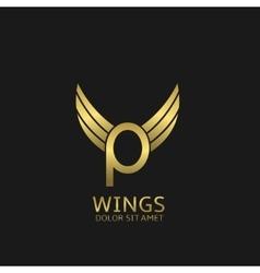 Golden P letter logo vector image vector image
