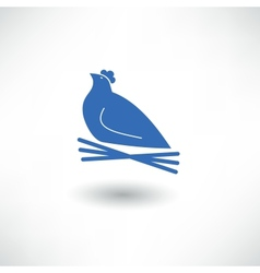 Hen sitting on a nest vector image