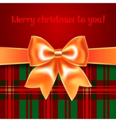 Merry Christmas background with yellow ribbon bow vector image