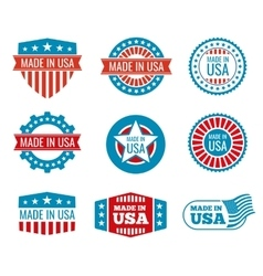 Red and blue made in the USA emblems set vector image