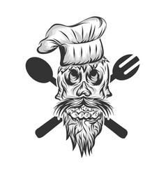 skull chef vector image