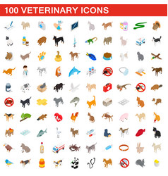 100 veterinary icons set isometric 3d style vector image