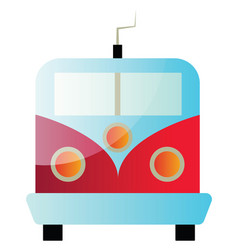 a front view a red and blue train on white vector image