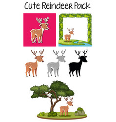 a pack of cute reindeer vector image