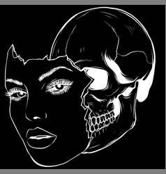 a woman face with skull vector image
