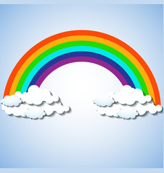 abstract colorful rainbow with clouds vector image