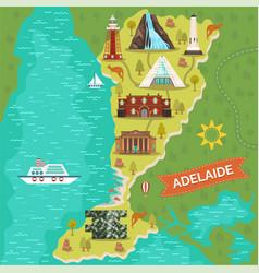 Adelaide landmarks on travel map australian city vector