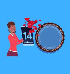 african american girl hold digital tablet sending vector image