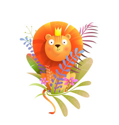 African baby lion king in nature for kids design vector