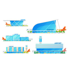 airport terminal building and airplane icons vector image