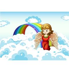An angel in sky near rainbow vector