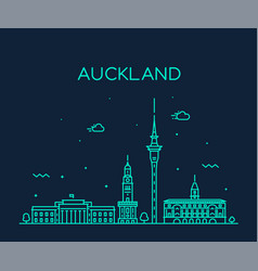 auckland city skyline new zealand linear vector image