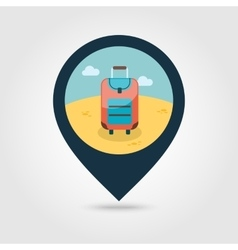 Baggage pin map icon Travel Summer Vacation vector image vector image