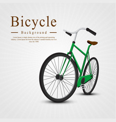 bicycle green on the background of the rays vector image