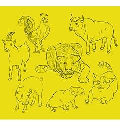 Bull cat cock goat pig rat tiger vector image