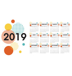 calendar for the year 2019 white design vector image