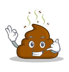 Call me poop emoticon character cartoon vector