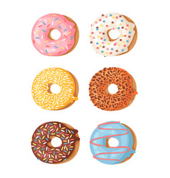 cartoon set of donuts hand vector image