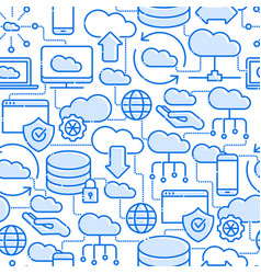 Cloud computing technology seamless pattern vector