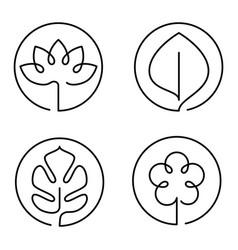Continuous line art logo set of flower leaf lotus vector