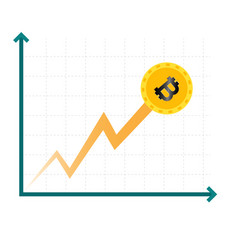 Cryptocurrency graph chat growing image vector