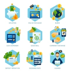 Currency Exchange Concept Set vector