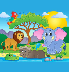 cute african animals theme image 9 vector image