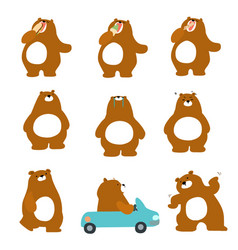 Cute character brown bear variety action pack vector