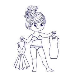 Cute girl for coloring book girl chooses a dress vector