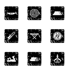 Cutting down trees icons set grunge style vector image