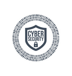 Cyber security shield icon or logo binary digital vector