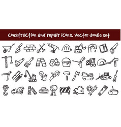 Doodle construction and repair icons set vector