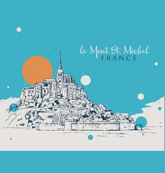 drawing sketch le mont saint michel vector image