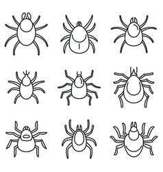 Dust mite icons set outline style vector