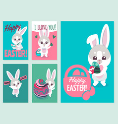 Easter flyers traditional fun elements vector