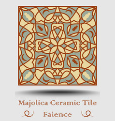 faience pottery tile in beige olive green and red vector image