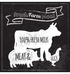 Farm Poster Chalkboard vector image