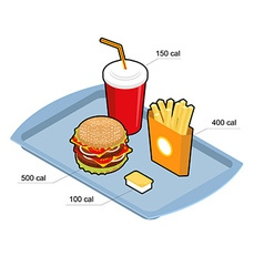 Fast food set Calorie dishes Big fresh hamburger vector image