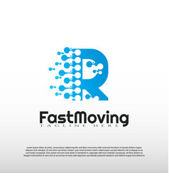 Fast moving logo with initial r letter concept vector