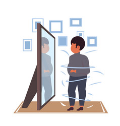 Fat overweight man looking at reflection in mirror vector