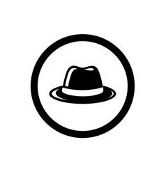 Fedora hat symbol and circle outline vector