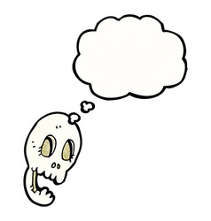 Funny cartoon skull with thought bubble vector