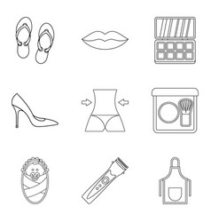 Gal icons set outline style vector