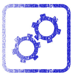 Gears framed textured icon vector